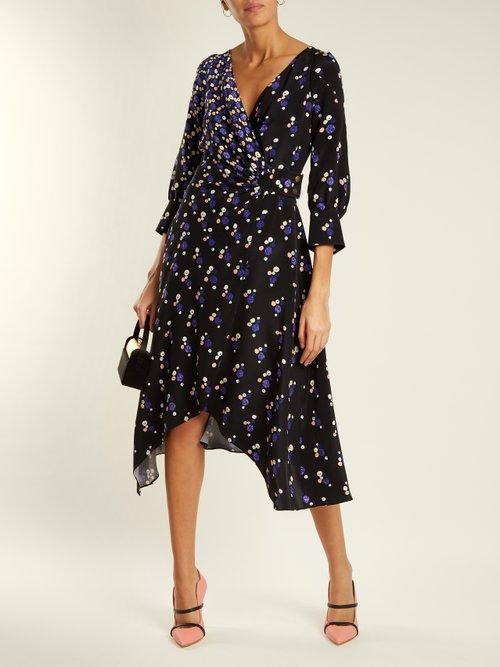 Shop Peter Pilotto Graphic spot-print silk wrap dress online sale