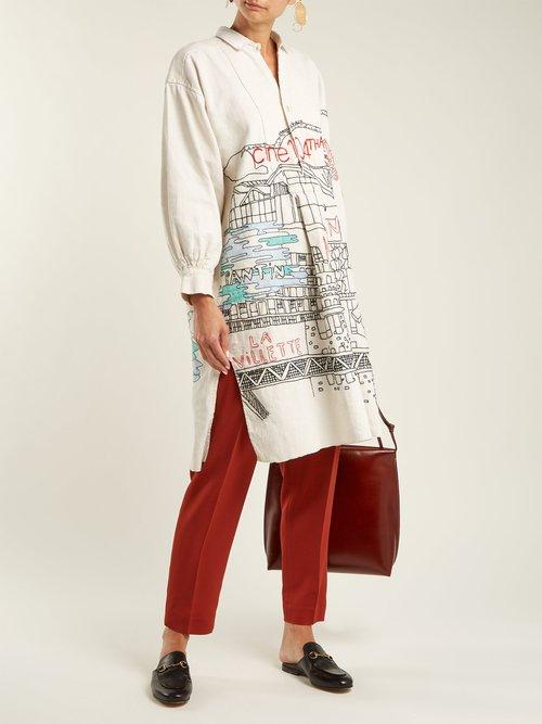 Pantin Embroidered Vintage Linen Shirtdress by Kilometre Paris