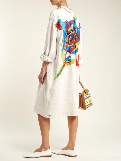 Cayo Levisa Embroidered Linen Shirtdress by Kilometre Paris