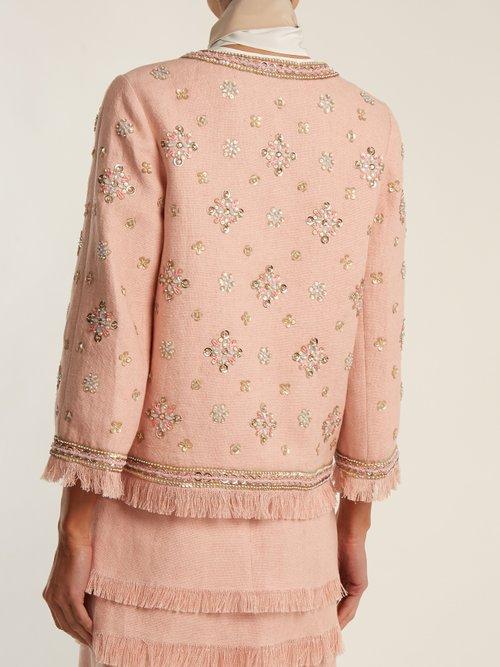 Sequin-embellished linen-blend jacket by Andrew Gn