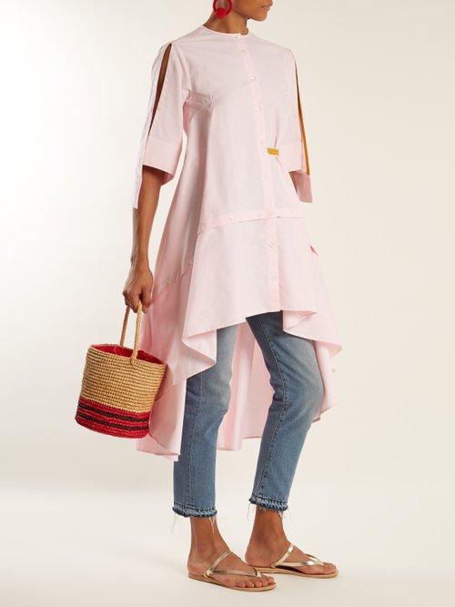 Stripe toquilla-straw basket bag by Sensi Studio