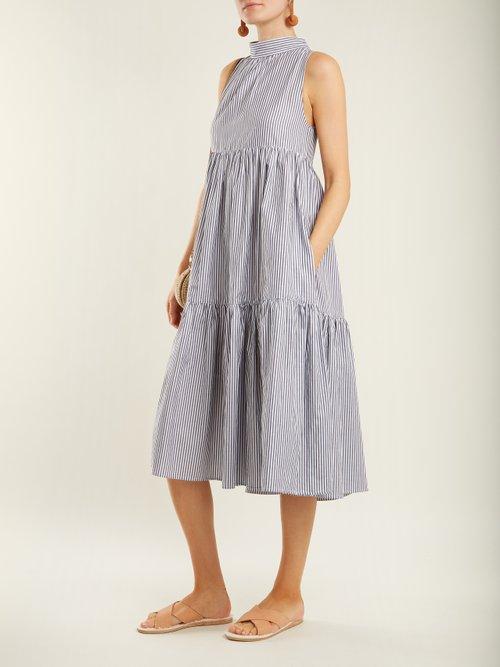 Neck-tie striped cotton dress by Asceno