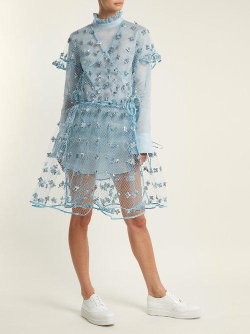 Aida floral-embellished sheer wrap dress by Cecilie Bahnsen