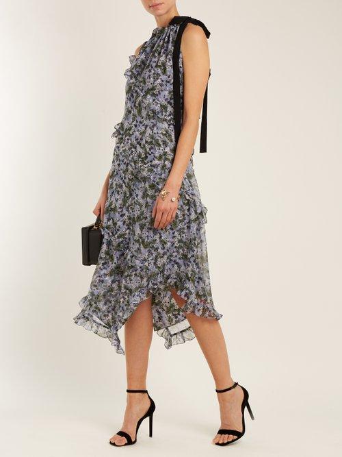 Zandra drawstring-neck silk-georgette dress by Erdem