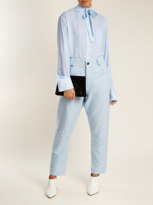 Tie-neck polka-dot print blouse by Haider Ackermann