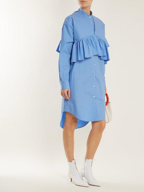 Oversized-ruffle cotton-blend poplin shirtdress by Msgm