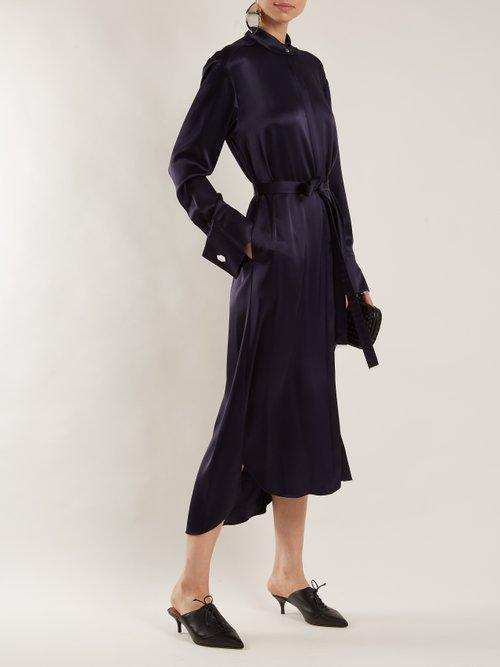 Gracie band-collar satin dress by Osman