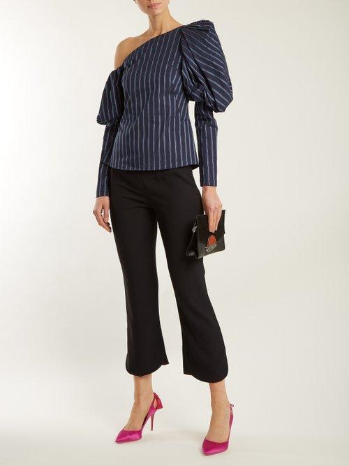 Asymmetric striped cotton top by Osman