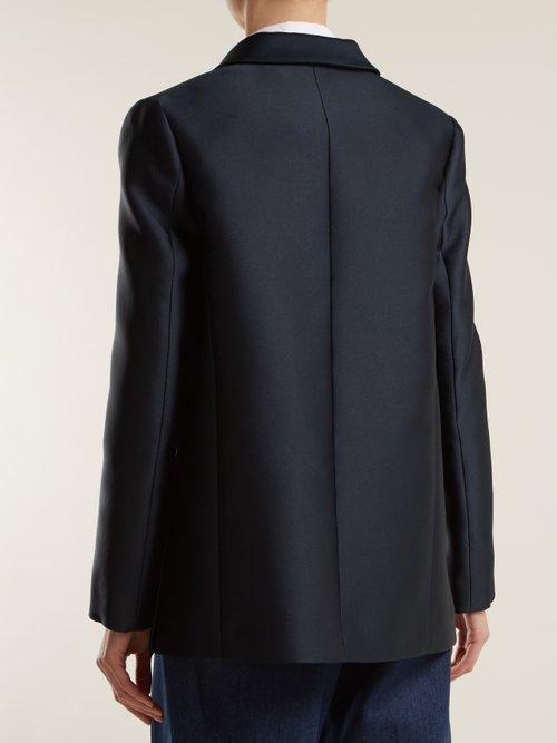 Double-breasted satin jacket by Maison Rabih Kayrouz