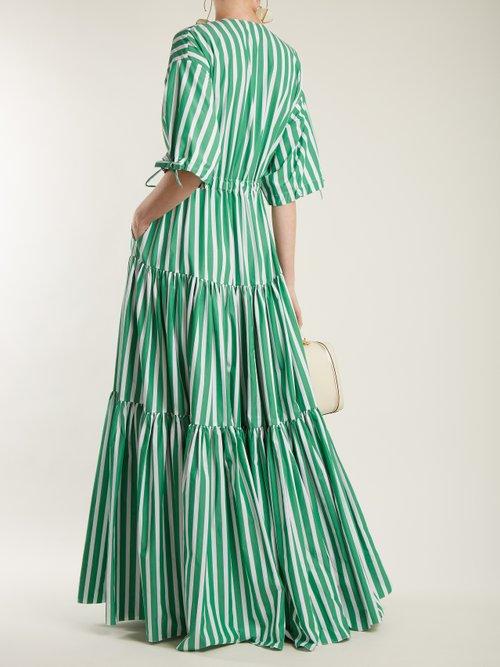 Tiered Striped Cotton Poplin Dress by Maison Rabih Kayrouz