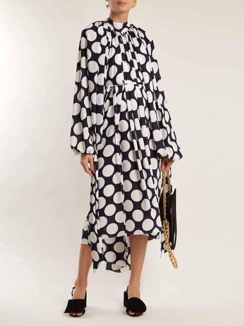 Giant polka-dot print gathered crepe dress by A.W.A.K.E.