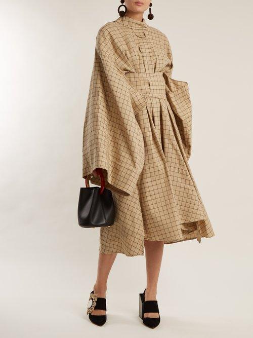 Checkered kimono-sleeved cotton shirtdress by A.W.A.K.E.