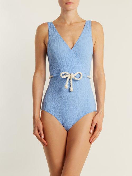 Yasmin V-neck tie-waist seersucker swimsuit by Lisa Marie Fernandez