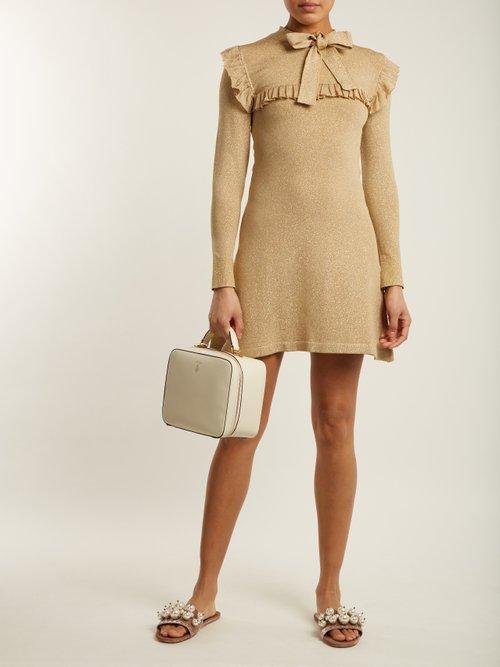 Shop Joostricot Ruffle-trimmed stretch-knit dress online sale