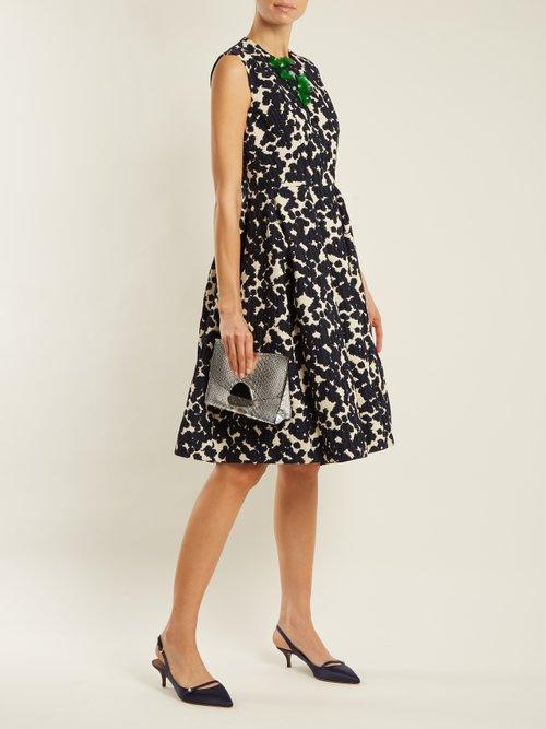 Floral-embellished cotton-blend dress by Biyan
