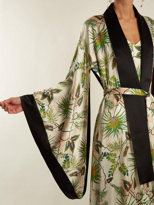 Anna Reversible Tropical Print Stretch Silk Robe by Adriana Iglesias