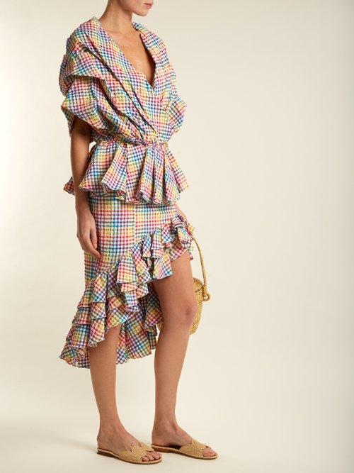 Photo of Ruffled Asymmetric Hem Gingham Skirt by Caroline Constas - shop Caroline Constas online sales