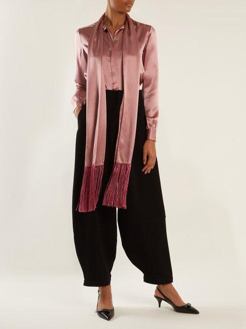Fringe-trimmed silk-satin blouse by Hillier Bartley