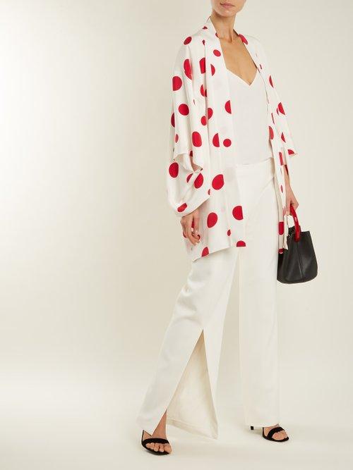 Sayuri Dot Print Silk Kimono Jacket by Racil