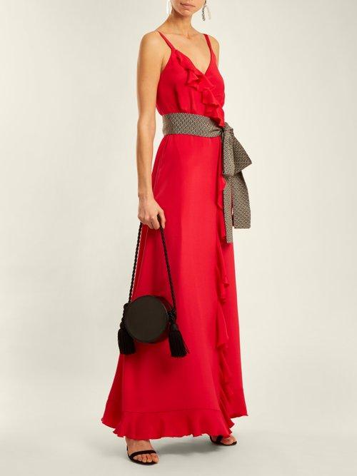 Geisha wrap-front ruffle-trimmed silk dress by Racil