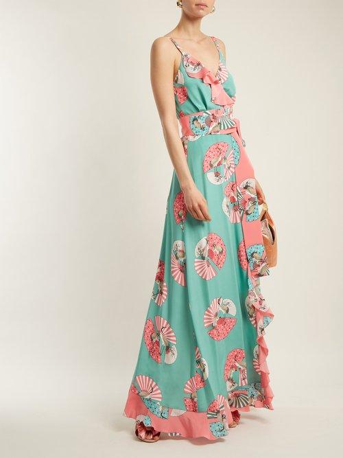Geisha fan-print silk wrap dress by Racil