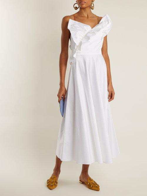 Ruffle-trimmed cotton-poplin dress by Anna October