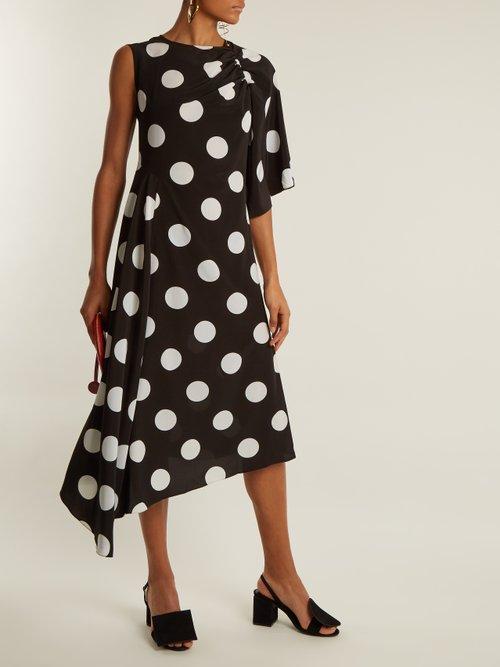 Asymmetric polka dot-print crepe de Chine dress by Anna October