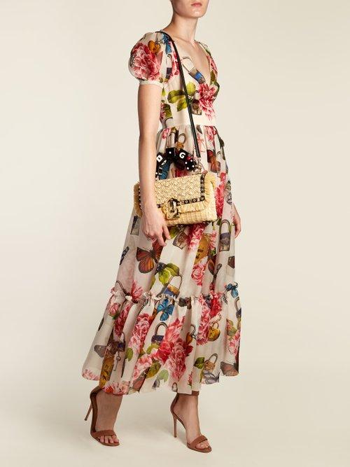Lucia stud-embellished wicker basket bag by Dolce & Gabbana
