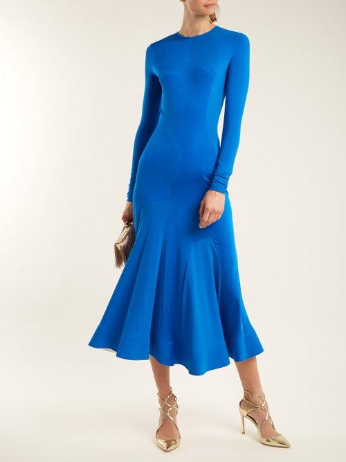 Shop  Asymmetric-panelled jersey midi dress online sale