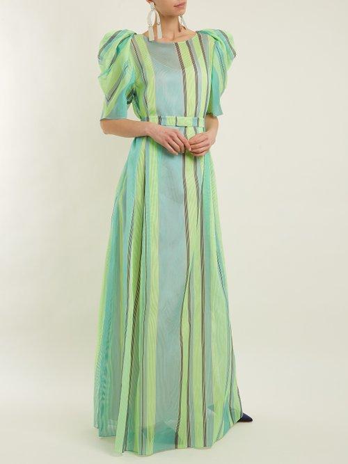 Puff Sleeved Striped Organza Gown by Vika Gazinskaya