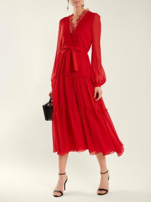 V-neck lace-trimmed silk-georgette dress by Giambattista Valli