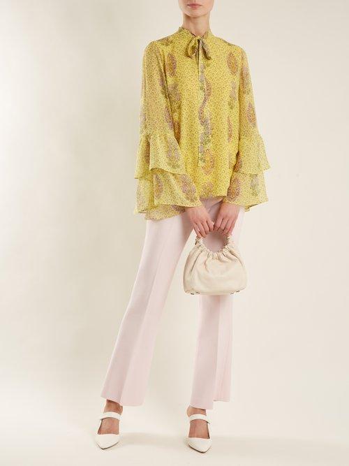 Floral-print bell-sleeves silk-georgette blouse by Giambattista Valli