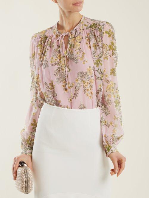 Cascade Ivy-print silk-georgette blouse by Giambattista Valli