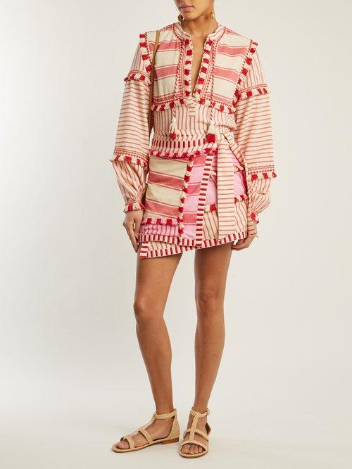 Emanuelle Fringe Embellished Striped Cotton Top by Dodo Bar Or