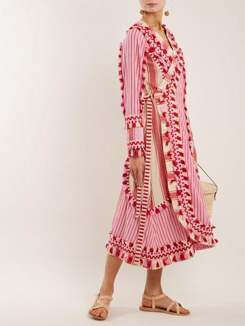 Miranda embroidered striped cotton wrap dress by Dodo Bar Or
