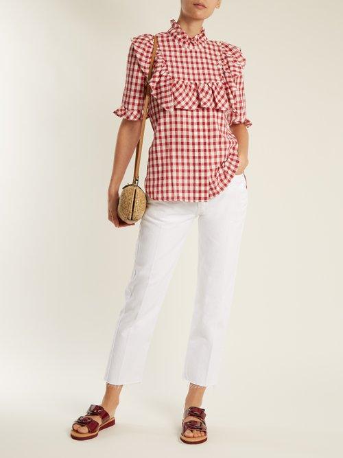 Photo of Germaine Ruffle Trimmed Cotton Gingham Top by Lee Mathews - shop Lee Mathews online sales