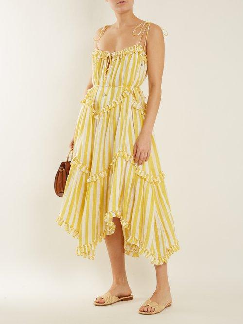 Lumino Floating striped linen dress by Zimmermann
