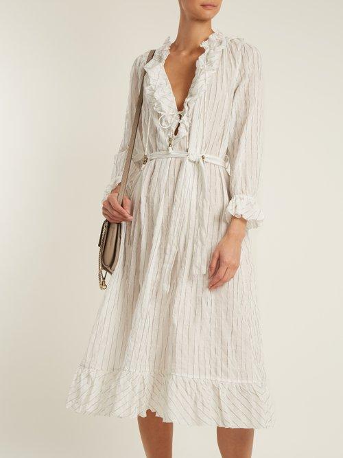 Corsair Pinstripe cotton-blend dress by Zimmermann