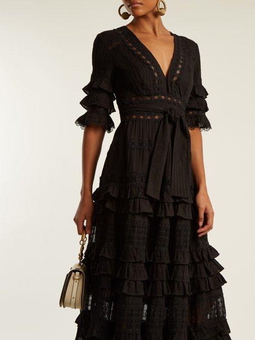 Corsair deep V-neck ruffled cotton dress by Zimmermann