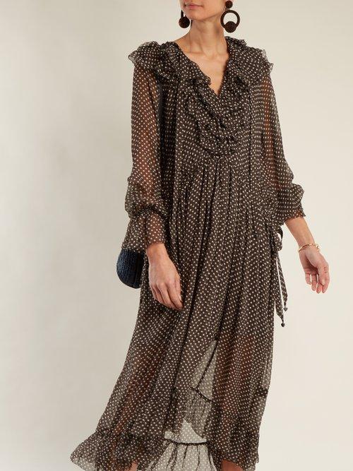 Painted Heart Ruffle Polka Dot Print Silk Dress by Zimmermann