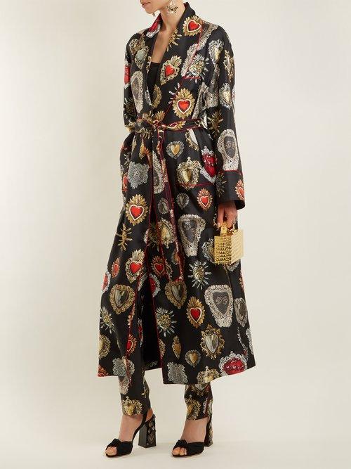 Heart Print Tie Waist Silk Robe by Dolce & Gabbana