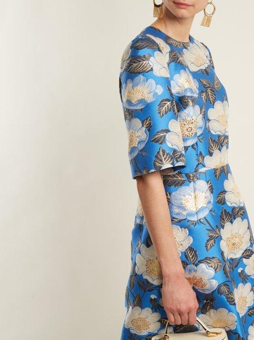 Floral Jacquard Silk Blend Dress by Dolce & Gabbana