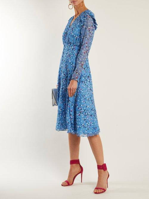 Abstract floral-print V-neck silk crepe dress by Carolina Herrera