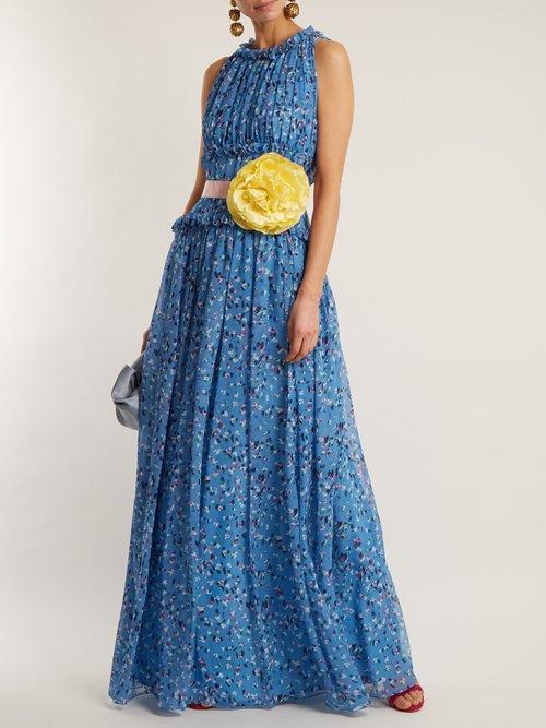 Floral-print silk-chiffon gown by Luisa Beccaria