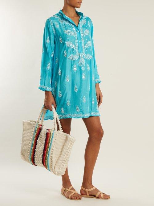 Floral Embroidered Silk Shirtdress by Juliet Dunn