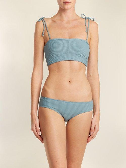 Arrow ribbed bandeau bikini top by Made By Dawn