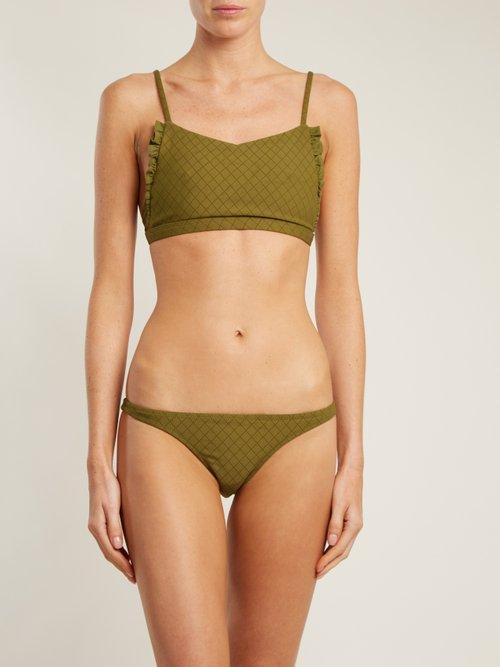Petal ruffle scoop-neck bikini top by Made By Dawn