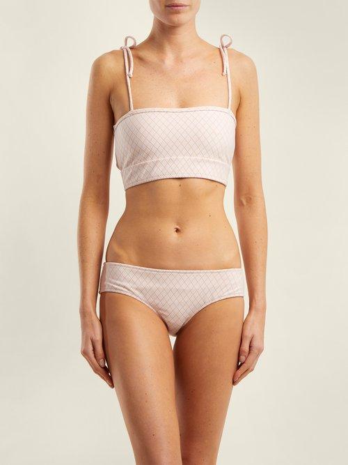 Arrow tie-shoulder bandeau bikini top by Made By Dawn