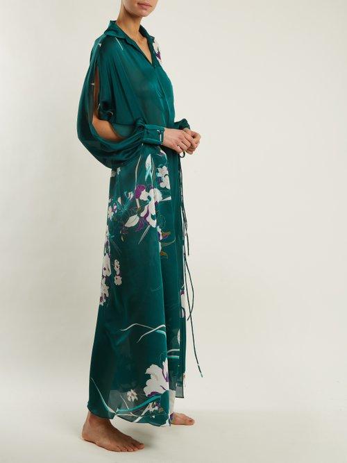 Floral Print Silk Satin Kaftan by Carine Gilson