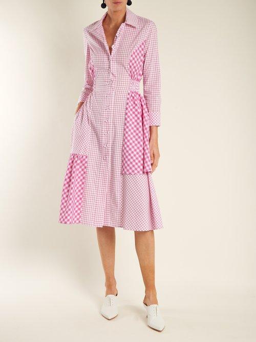 Easton asymmetric checked cotton-poplin shirtdress by Dovima Paris